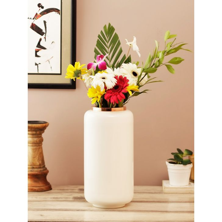 Allure Metal Vases in White Rose Gold Colour by Living Essence