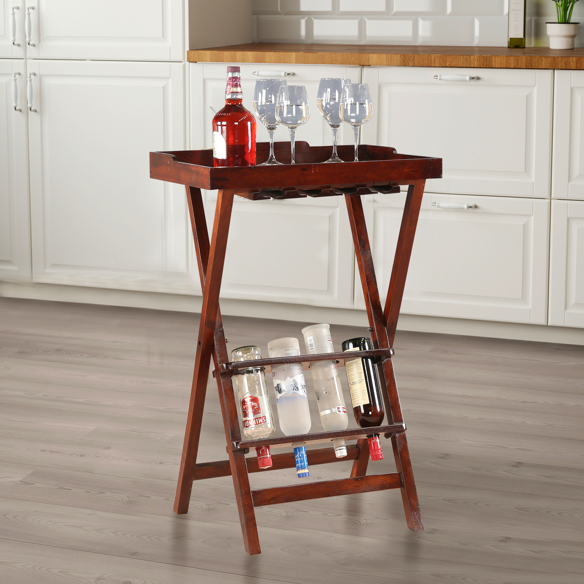 Emilia Solid Wood End Table With Wine Rack in Chest Nut Colour by HomeTown