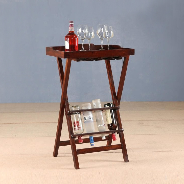 Emilia Solid Wood Bar Cabinet in Chest Nut Colour by HomeTown