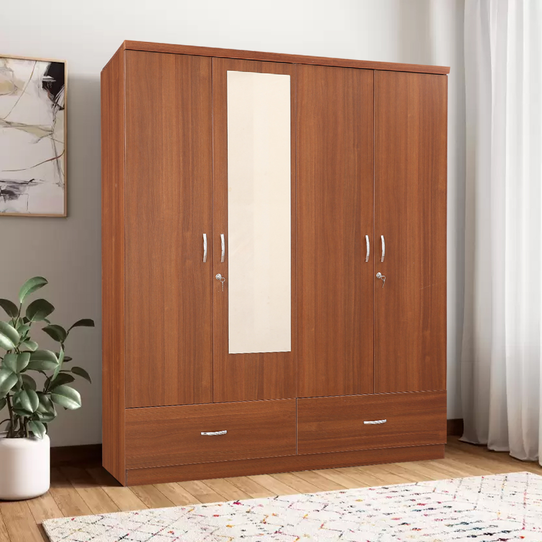 Ultima Engineered Wood Four Door wardrobe in Regato Walnut Colour by HomeTown