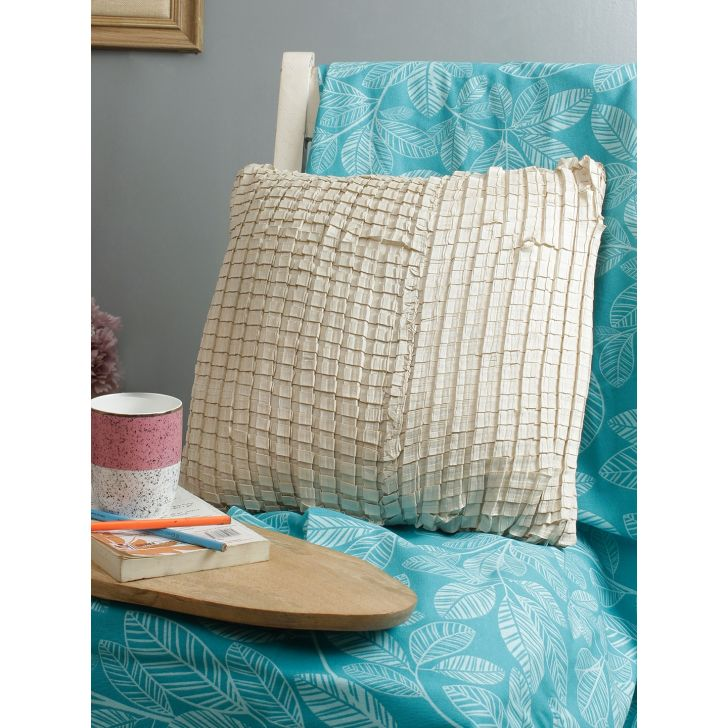 Living Essence Polyester Cushion Cover in Off White Colour by Living Essence