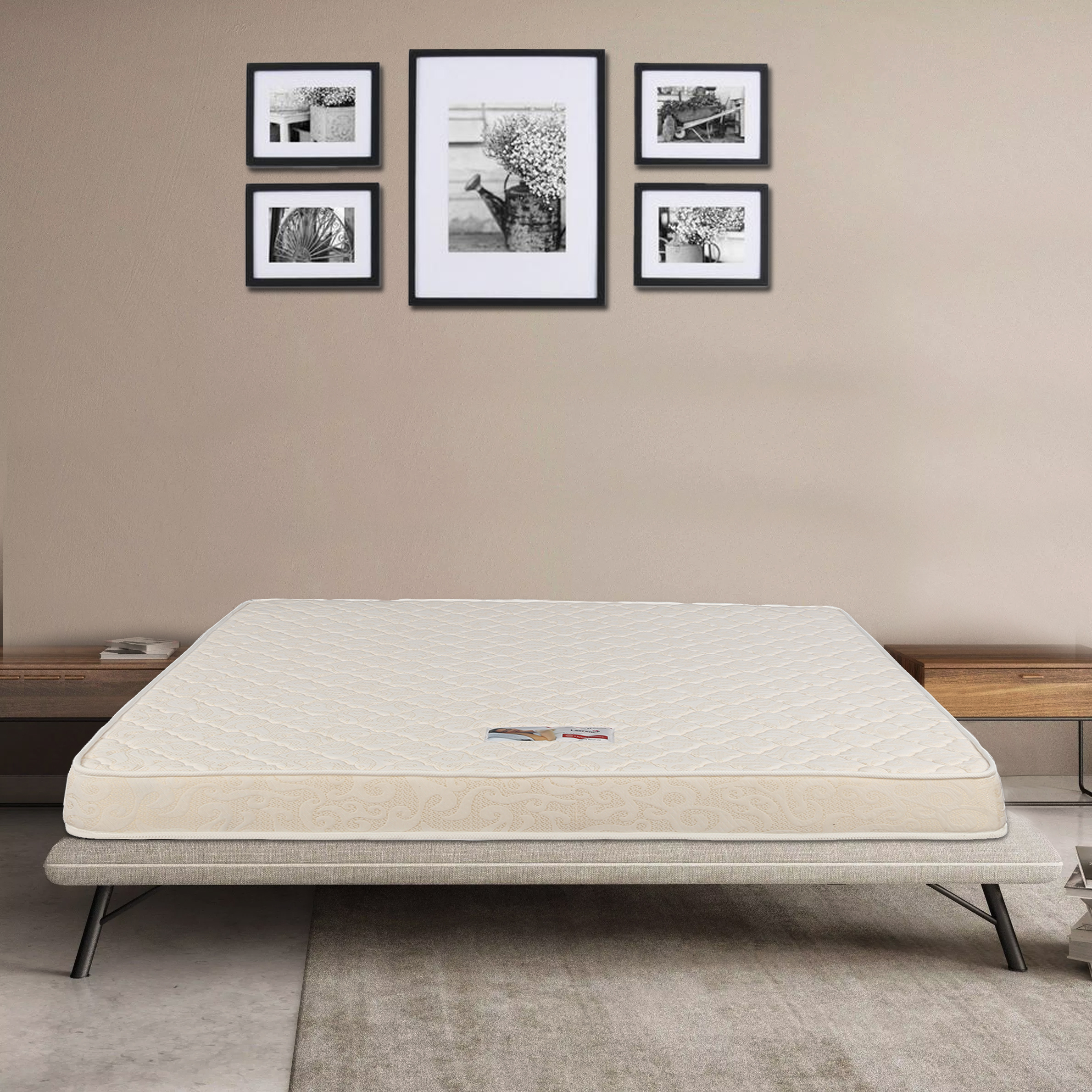 Daisy Fabric Queen Bed Mattress in Off White Colour by HomeTown