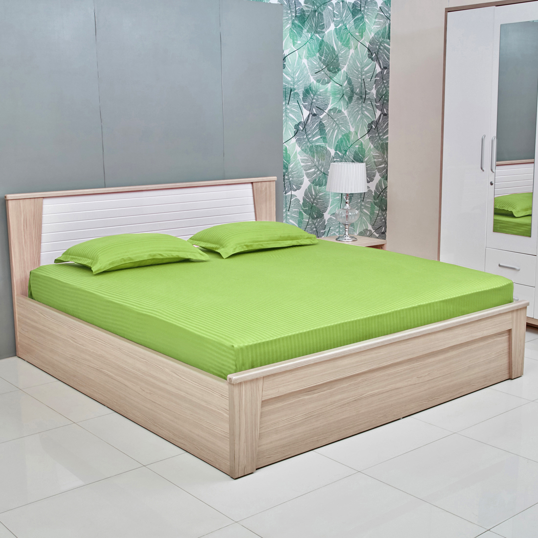 Amour Satin Stripe Cotton Double Bedsheets in Lime Colour by Living Essence