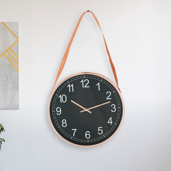 Aristo Simple Clock With Leather Strap Classic Clocks in Brown, Neutrals Colour by Living Essence