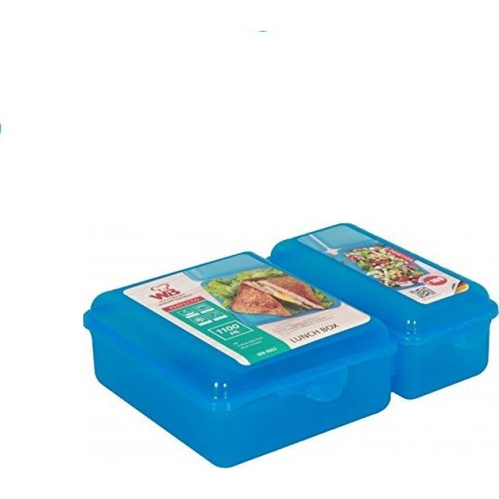 Wellberg Lunch Box 1100 ml - WB-9663 (Assorted) Plastic Containers in Blue Colour by Wellberg