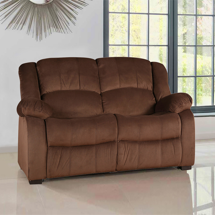 Rhea Fabric Two Seater sofa in Brown Colour by HomeTown