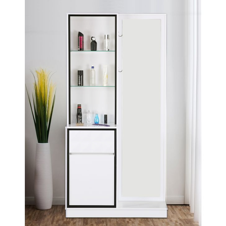 Giovanni Engineered Wood Dressing Table in High Gloss White Colour by HomeTown
