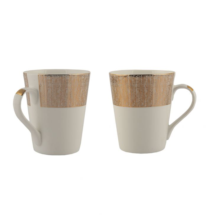 Sk Prism 2Pc Milk Mug Ceramic Coffee Mugs in White & Gold Colour by Living Essence