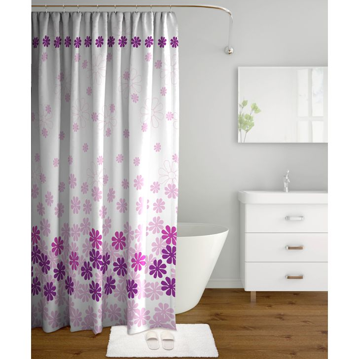 Tangerine Polyester Floral Shower Curtain With Hooks Pink