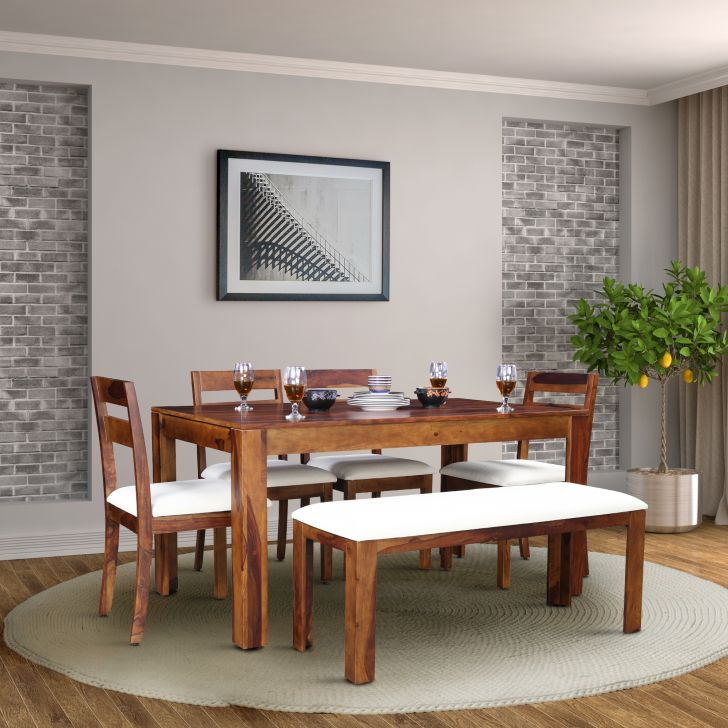 Glitz Solidwood Six Seater Dining Set in Teak Colour by HomeTown