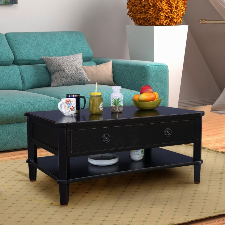Henshaw Solidwood Center Table in Black Colour