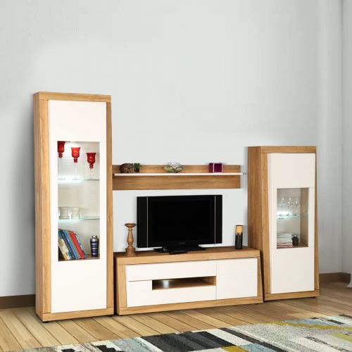 Buy Cartier Engineered Wood TV Unit Set In White High Gloss U0026 Oak Colour By  HomeTown Online At Best Price   HomeTown.in