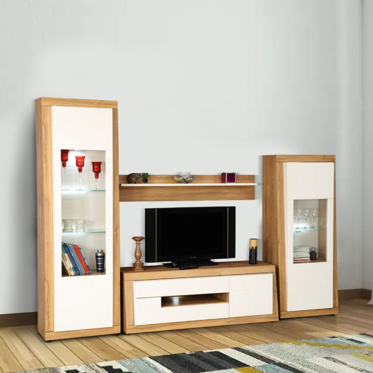 Cartier Engineered Wood TV Unit Set in White High Gloss & Oak Colour by HomeTown