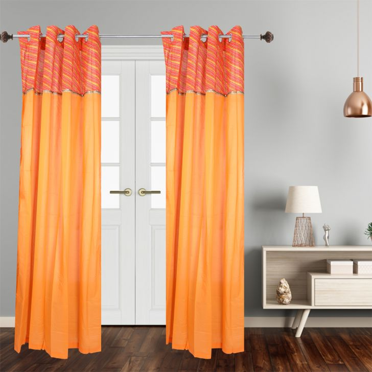 check MRP of orange colour curtains Dreamline