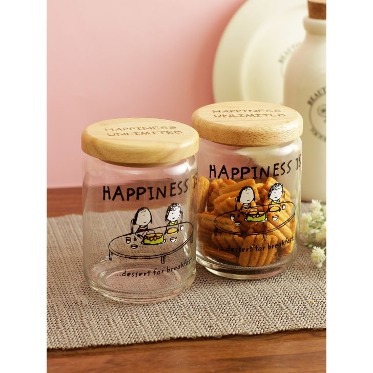 Happiness Dessert 650 ml Glass Jars Set Of 2 With Bamboo Lid in Transparent Colour