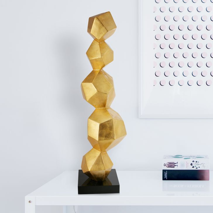 Novel Building Block 105 Cms Gold Bamboo Table D in Gold Colour by Living Essence