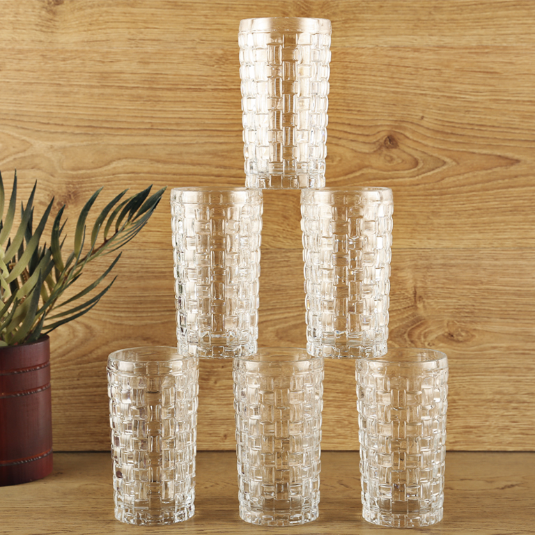 Woven Clair Water TumbLiving Essencer Set Of 6 Glass Glasses & Tumblers in Transparent Colour by Living Essence