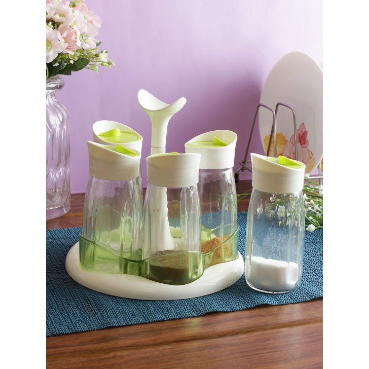 Kitchen Aid Glass Spice Jar Set of 5 in Transparent Colour by Living Essence