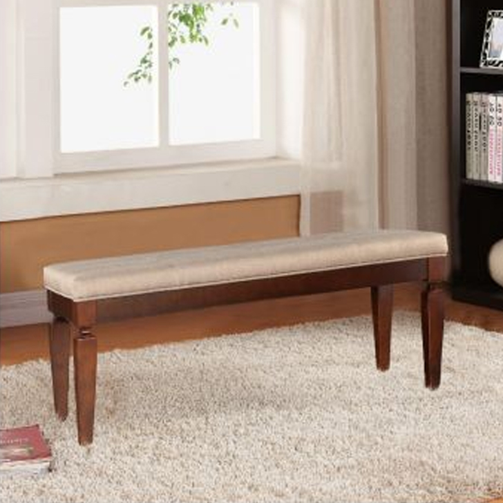 Bliss Solid Wood Dining Bench in Beige & Brown Colour by HomeTown