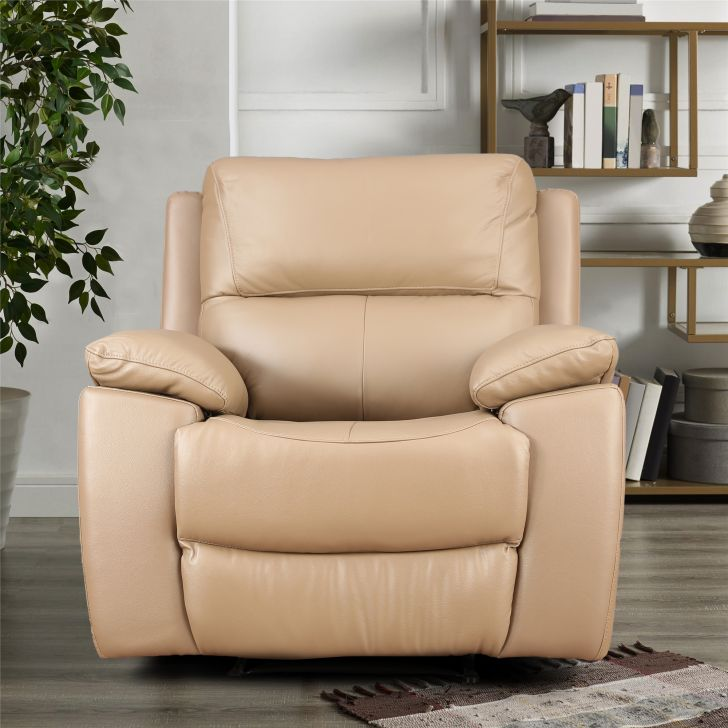 Lionel Half Leather Single Seater Recliner in Coffee Colour by HomeTown