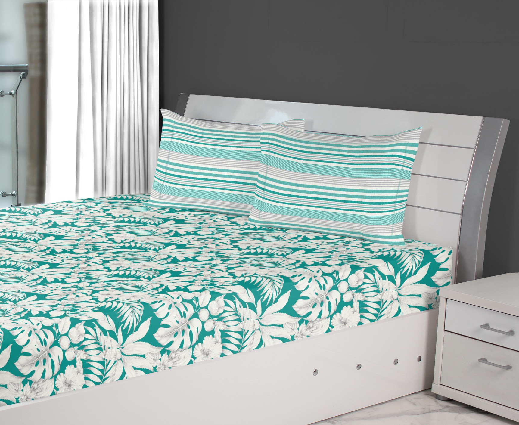 Emilia Cotton Double Bedsheets in Teal Colour by Living Essence