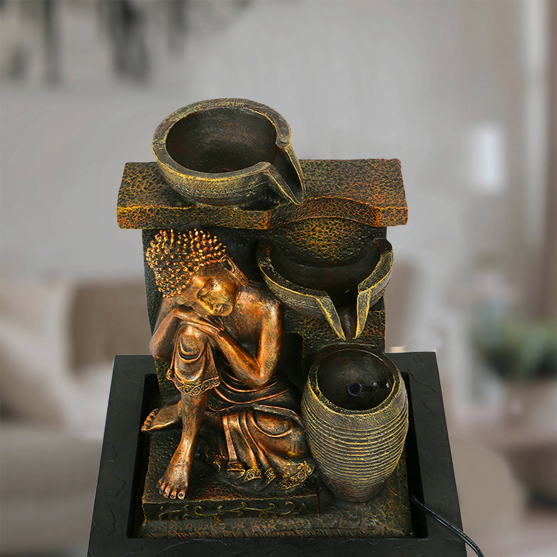 Impression Polyresin Small Fountains in Black And Brown Colour by HomeTown
