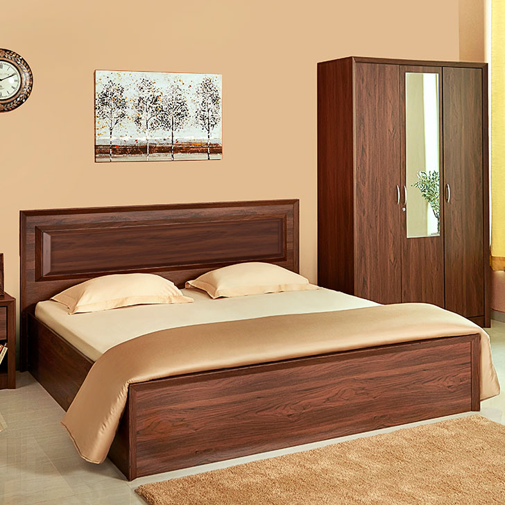 Stark Box Storage Queen Size Bed With Three Door Wardrobe Combo in Walnut Colour by HomeTown