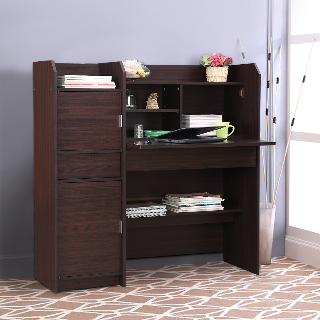 Florence Engineered Wood Study Table in Honey Colour by HomeTown