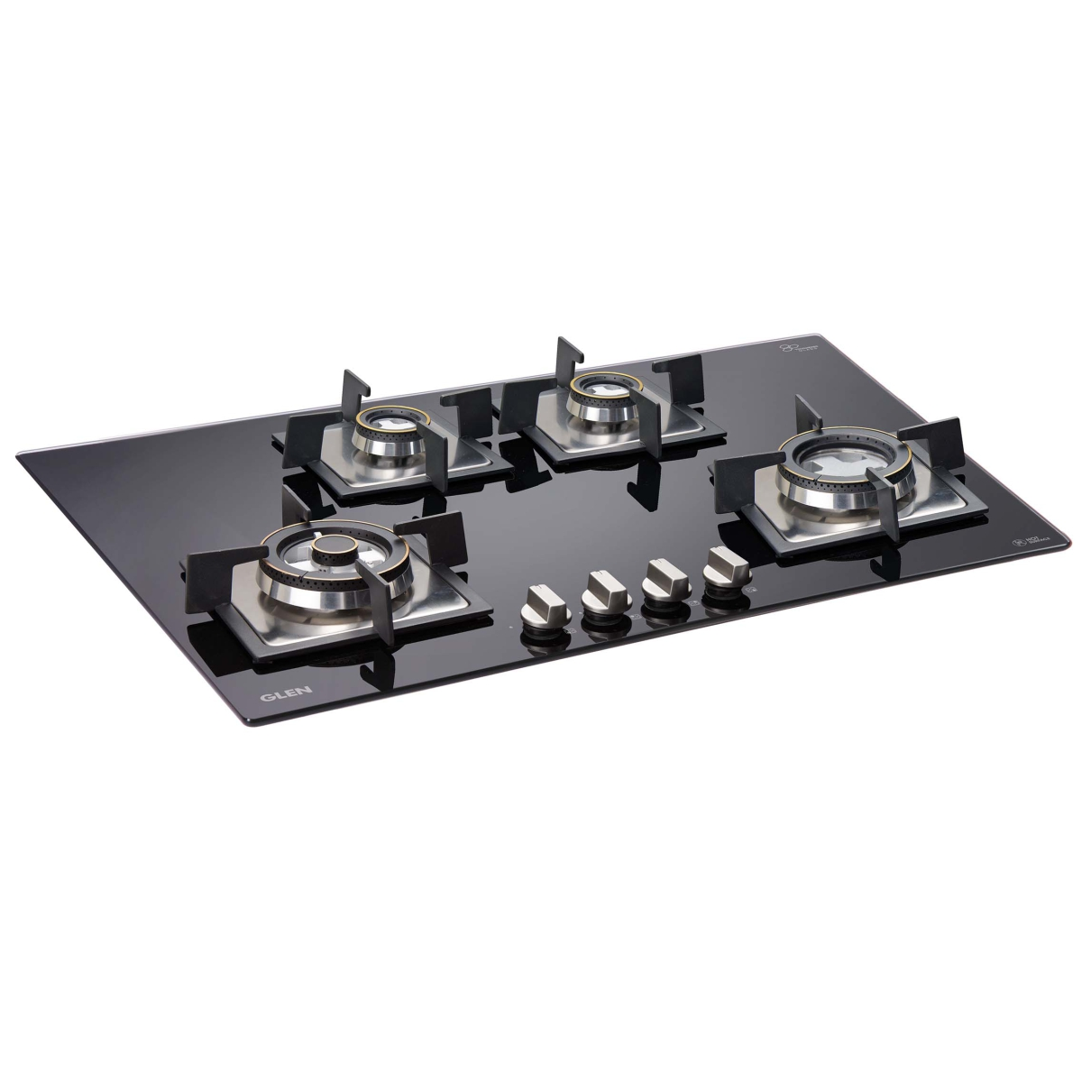 Glen 4 Burner Built In Glass Hob 1074 SQ Double Brass Triple Ring Burner by Glen