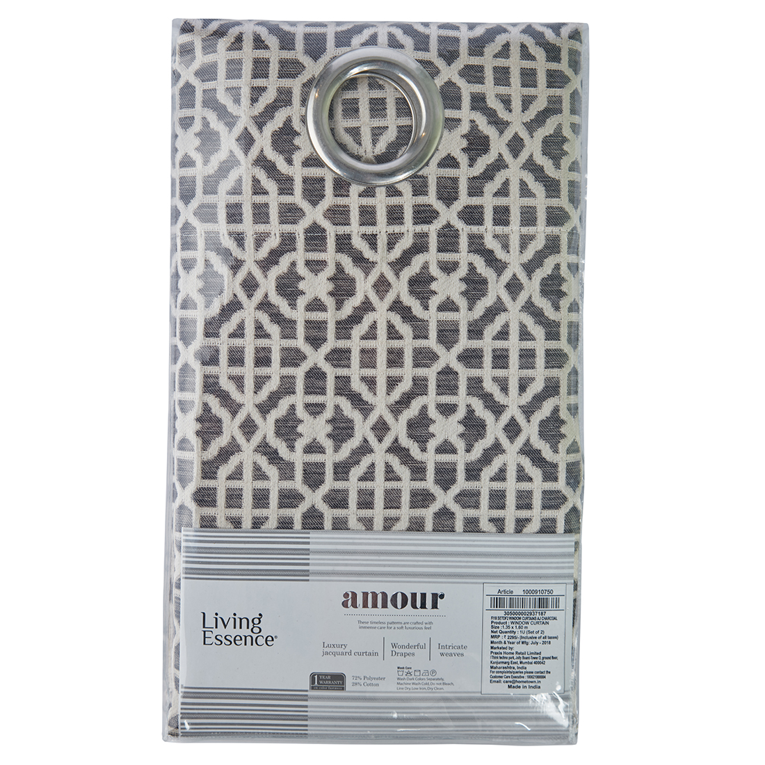 Amour Jacquard Polyester Window Curtains in Charcoal Colour by Living Essence