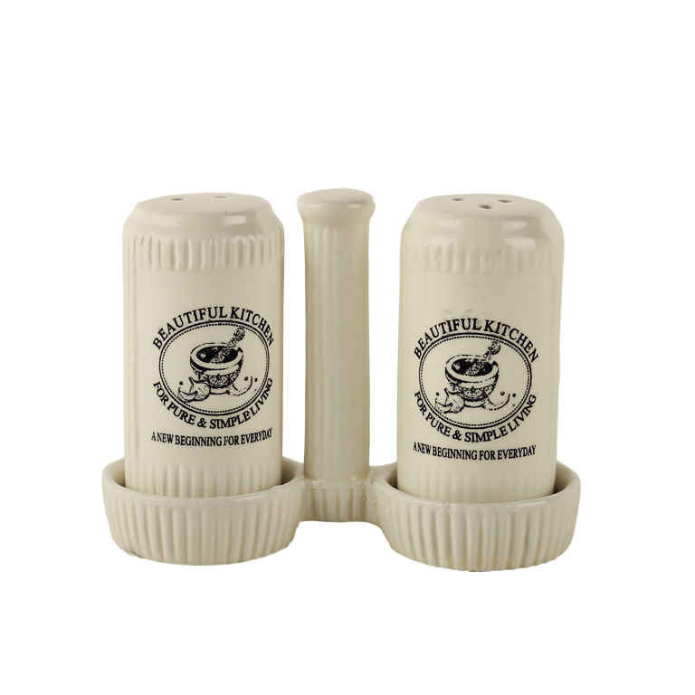 Bk Salt Pepper With Stand Ceramic Salt & Pepper in White Colour by Living Essence