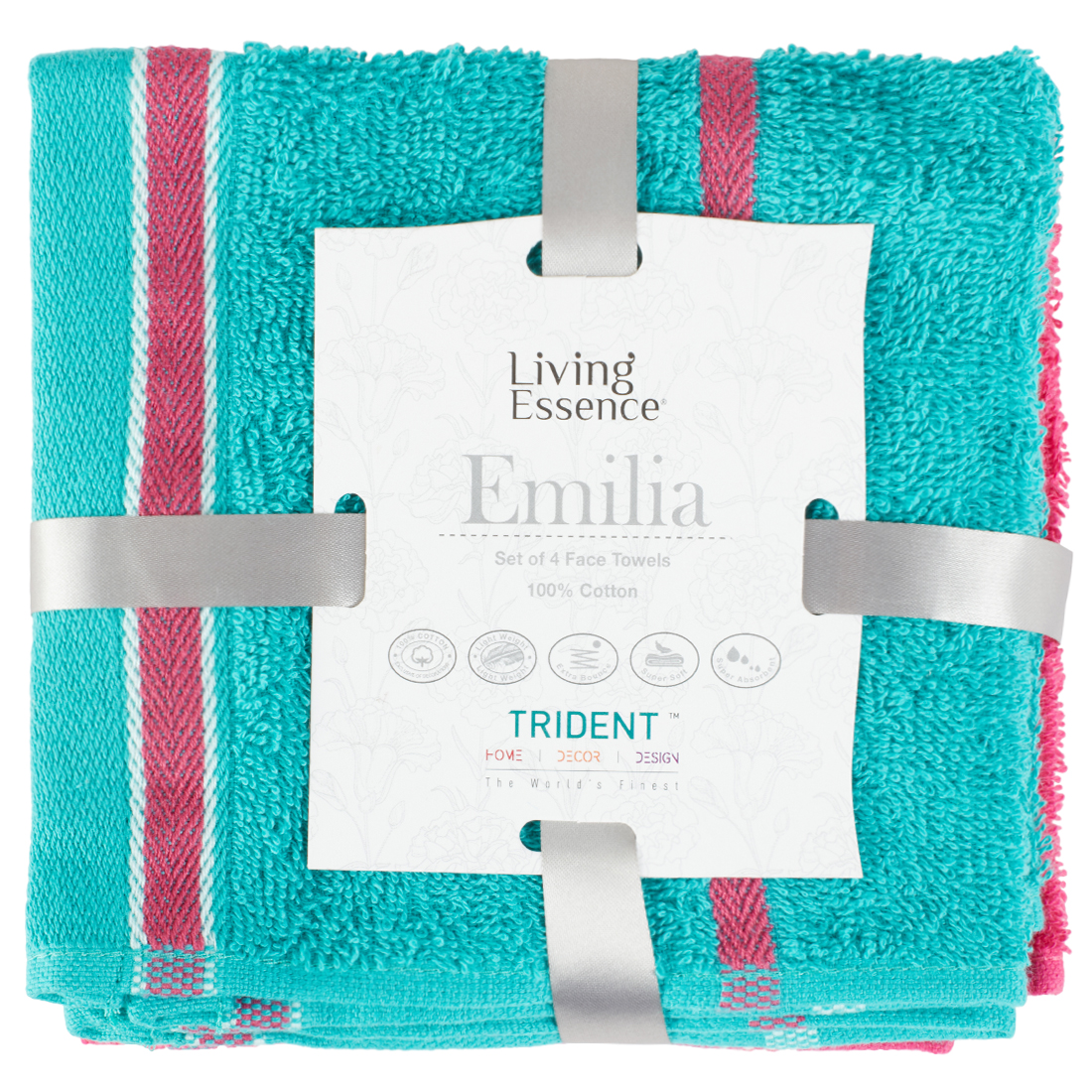 Emilia Set of 4 Cotton Face Towels in Teal Pink Colour by Living Essence