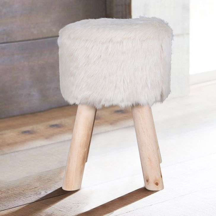 Danica Solid Wood Ottoman in Beige Colour by HomeTown