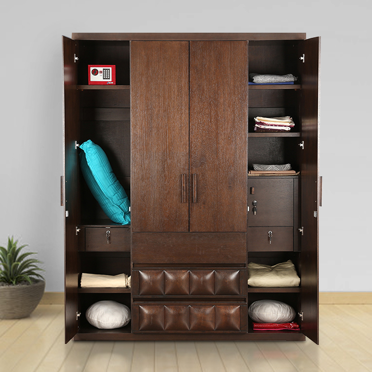 Empire Engineered Wood Four Door Wardrobe in Capuccino Colour by HomeTown