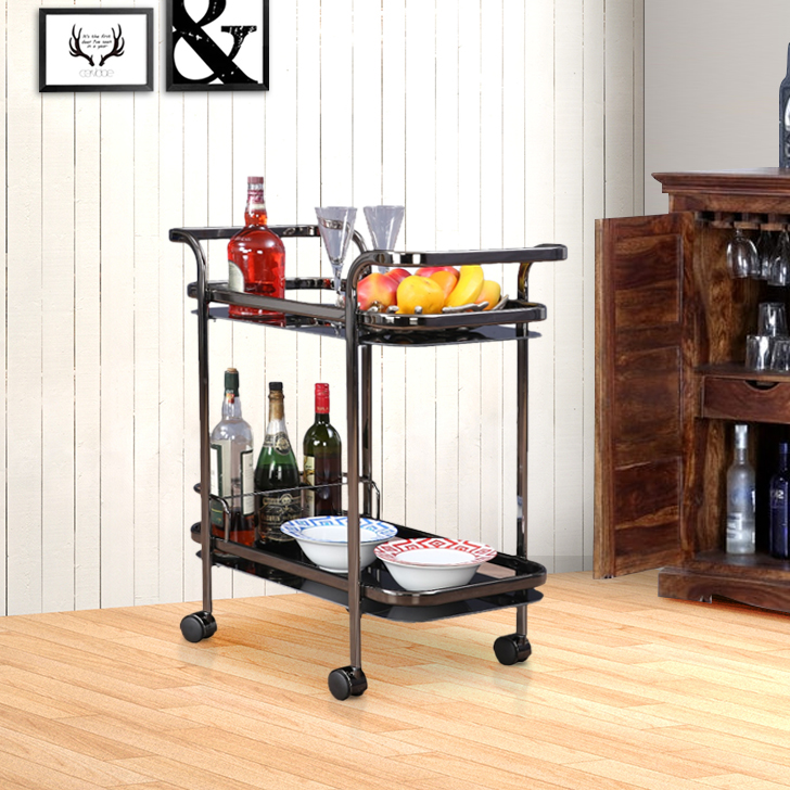 Titan Nickel Serving Trolley in Black Colour by from HomeTown at www.hometown.in