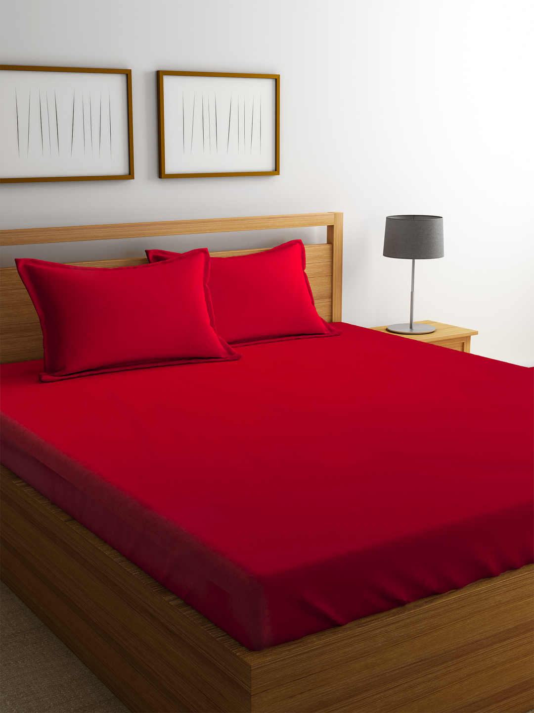 Portico Percale Bedsheet Red Cotton Double Bed Sheets in Red Colour by Portico