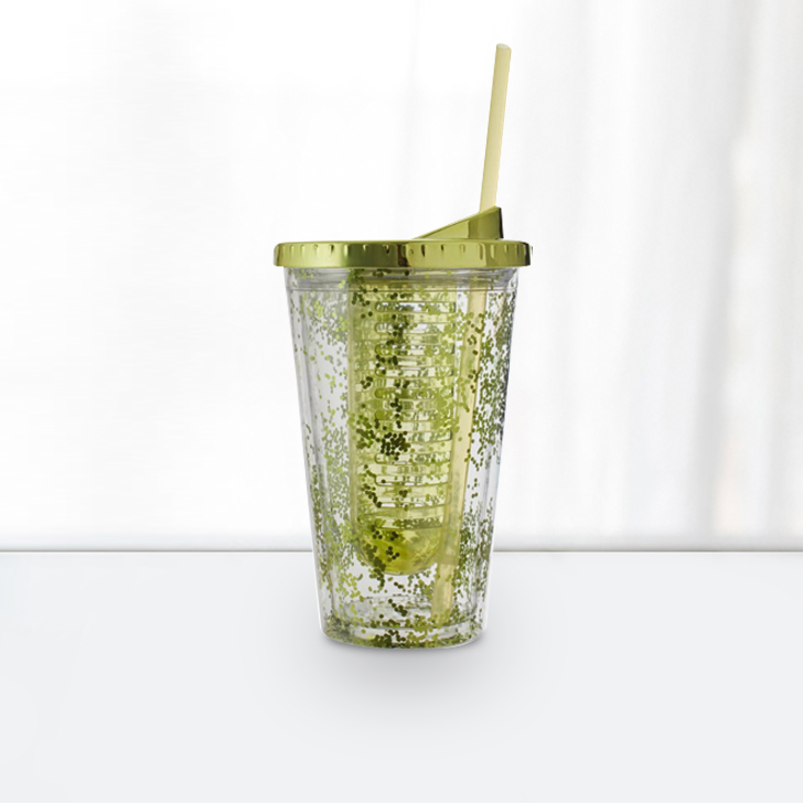 Double Wall Sipper 470 Ml With Glitter Plastic Glass Bottles in Transparent Bottle & Green Lid Colour by Living Essence