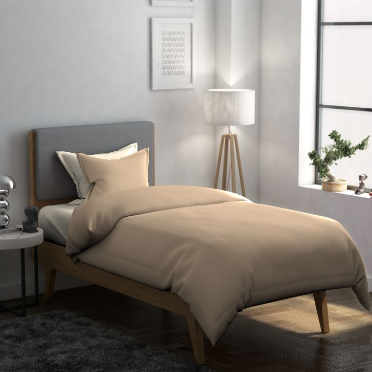 Solid Cotton Single Bedsheet in Brown Colour by Dreamline