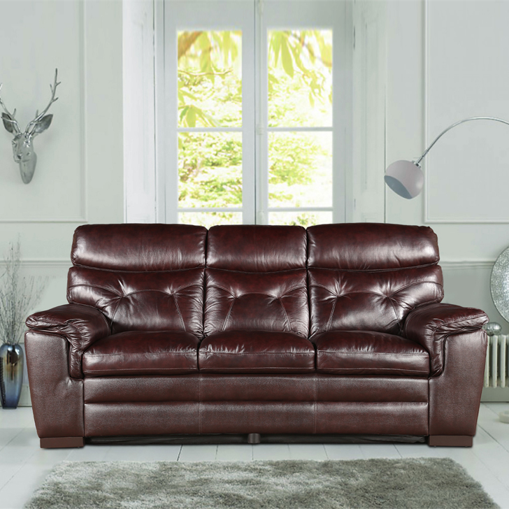 Bradley Half Leather Three Seater sofa in Dark Brown Colour by HomeTown