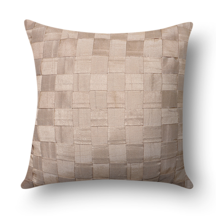 Zara Solid Polyester Cushion Cover Taupe Polyester Cushion Covers in Taupe Colour by Living Essence