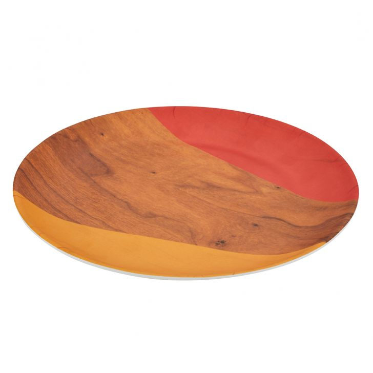 Persian Striped Woody Round Buffet Plate Food Grade Melamine Plates in Multi Color Colour by Living Essence