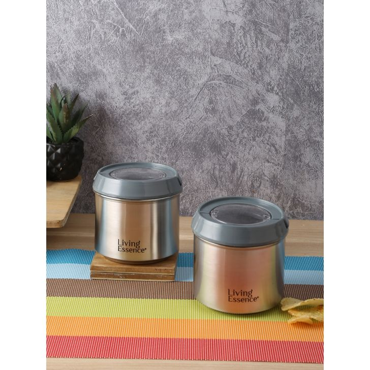 Sapphire Steel Round Container 650 Ml Set of 6 in Silver Colour by Living Essence