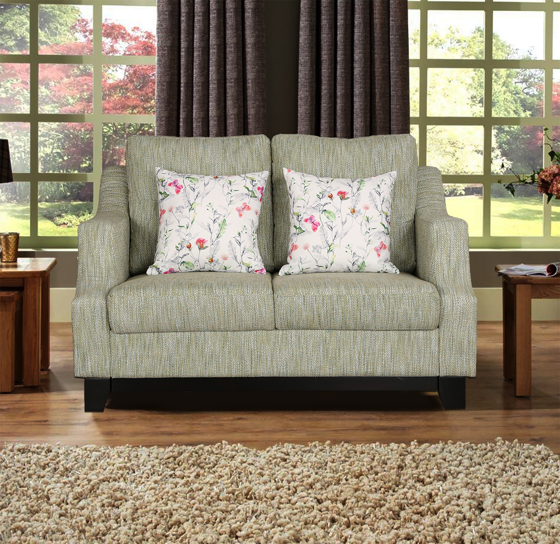 Tremblay Fabric Two Seater sofa in Lime Colour by HomeTown