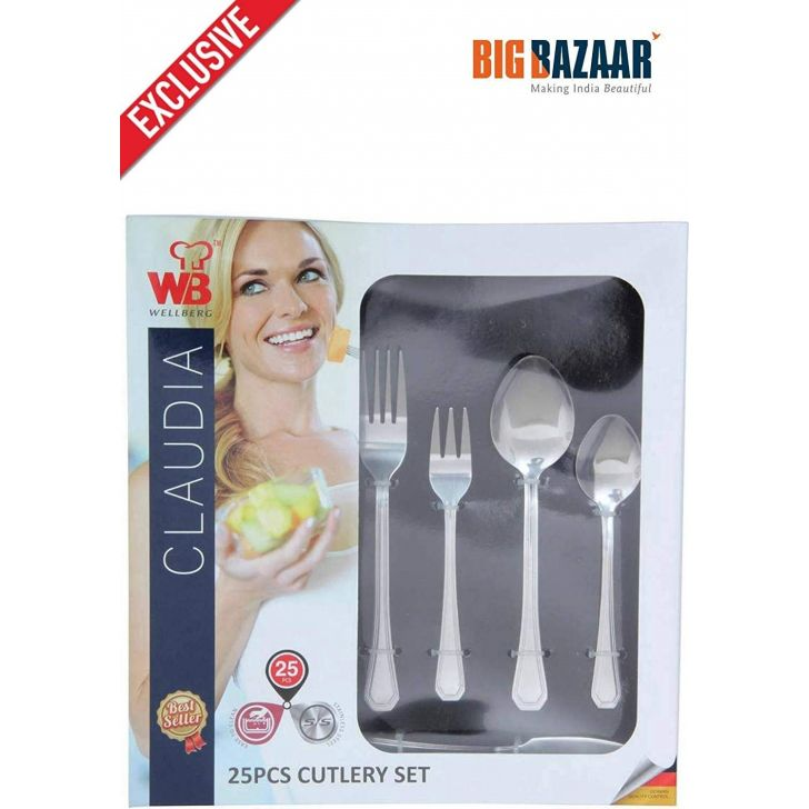Cutlery Set, 25 Pieces Stainless steel in Silver Colour by Wellberg