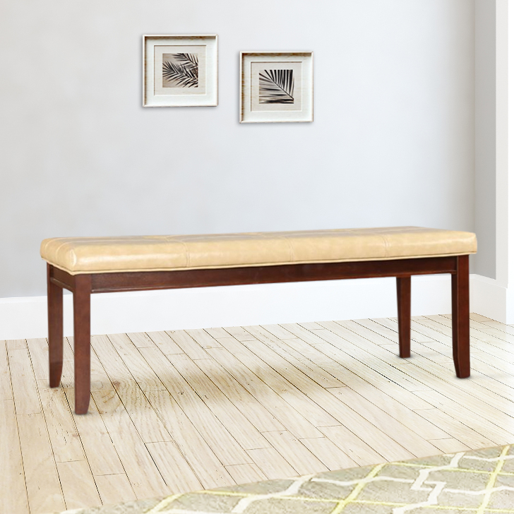 Athena Solid Wood Dining Bench in Beige Colour by HomeTown