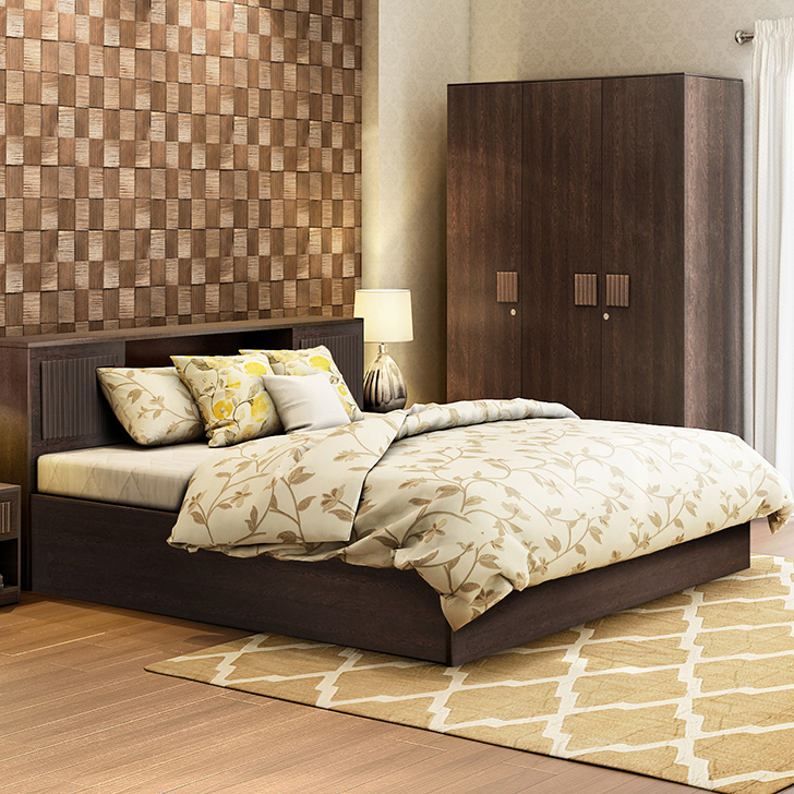 Tiago Engineered Wood Box Storage Queen Size Bed in Wenge Colour by HomeTown