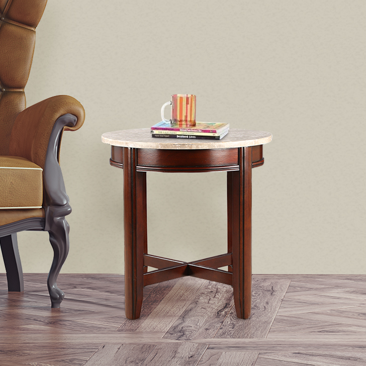 Loraine Solid Wood End Table in Off White & Brown Colour by HomeTown