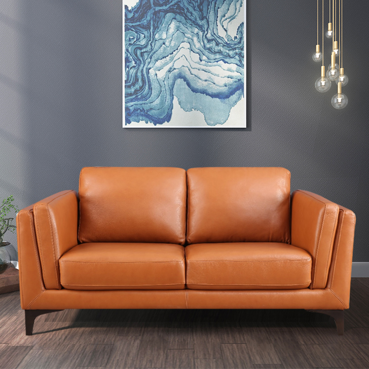 Maurice Leather Two Seater Sofa in Tan Colour by HomeTown