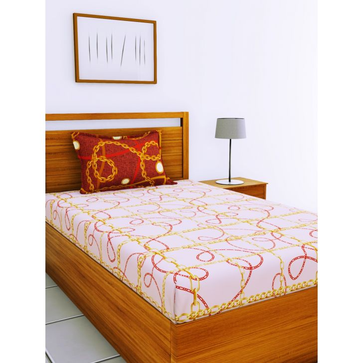 Espeda Cotton Single Bedsheet 152X229 CM in Pink & Gold Colour