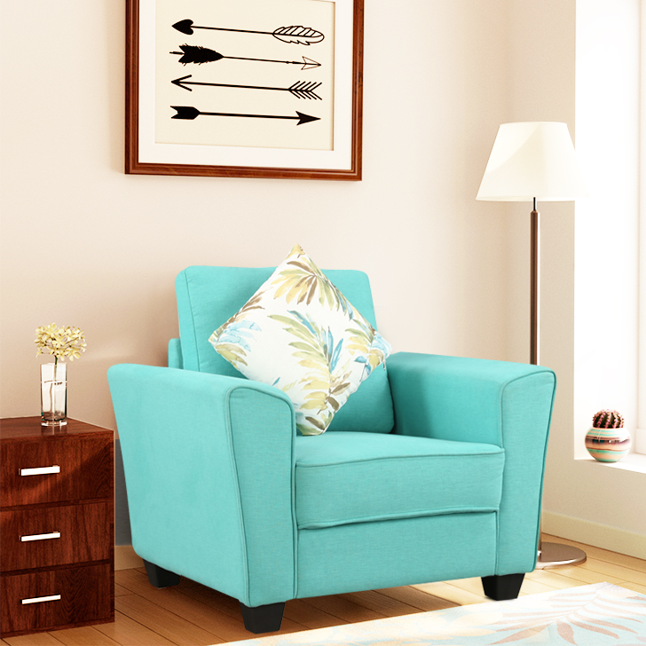 Rogers Fabric Single Seater Sofa in Teal Colour by HomeTown
